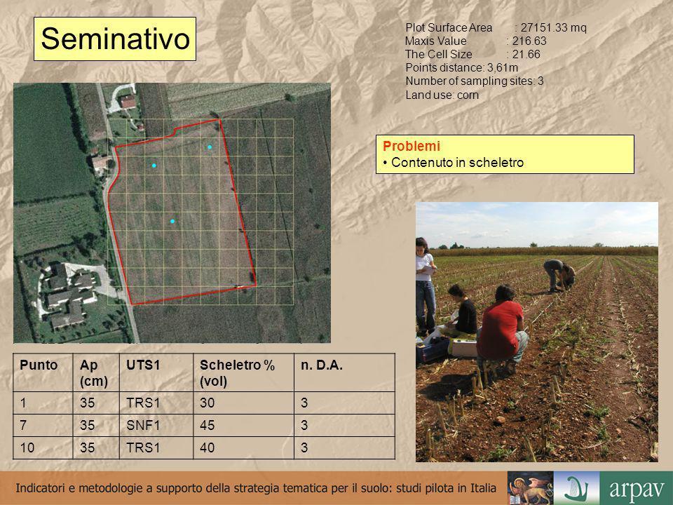 Pascolo Plot Surface Area: 11292.86 mq Maxis Value: 159.07 The Cell Size: 15.91 Sottocampione: 2,65m Land use: pasture PuntoA (cm)Scheletro % (vol) n.