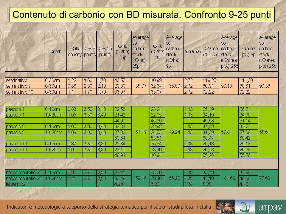 Opzioni per determinare la densità apparente MetodoProContro Misurata in campo Calcolata con pedofunzioni con dati di tessitura e carbonio organico Calcolata con pedofunzioni solo con dati di carbonio organico e valori medi per la tessitura (25% argilla, 30% sabbia per i suoli di pianura) Dato affidabile Tempi di campionamento inferiori Tempi di campionamento inferiori, nessun costo di analisi per la tessitura Tempi di campionamento lunghi, problemi di campionamento con scheletro e con personale non esperto, costi/tempi di determinazione in laboratorio Costi di analisi e minor affidabilità delle pedofunzioni Affidabilità del dato utilizzando valori medi di tessitura