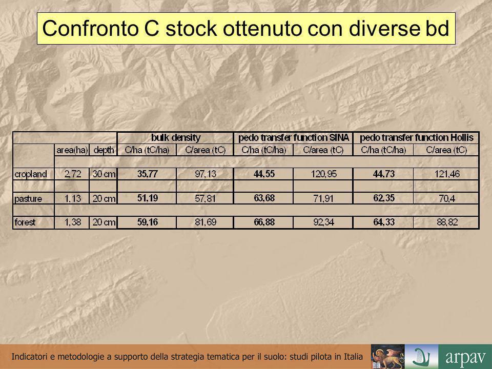 Confronto C stock ottenuto con diverse bd