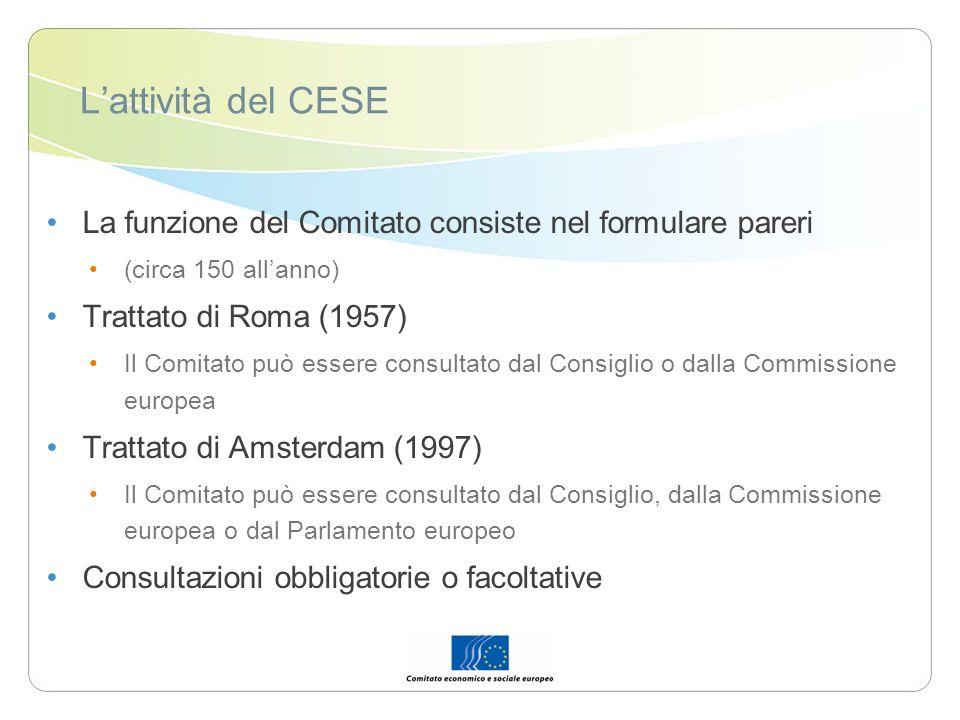 Lattività del CESE La funzione del Comitato consiste nel formulare pareri (circa 150 allanno) Trattato di Roma (1957) Il Comitato può essere consultat