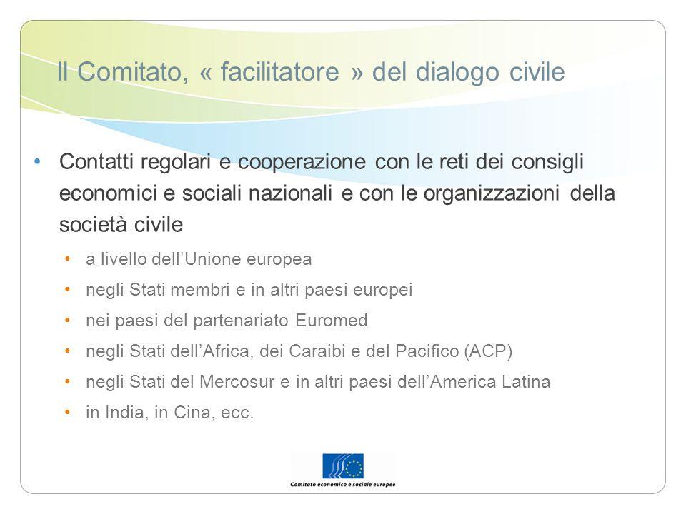 Il Comitato, « facilitatore » del dialogo civile Contatti regolari e cooperazione con le reti dei consigli economici e sociali nazionali e con le orga