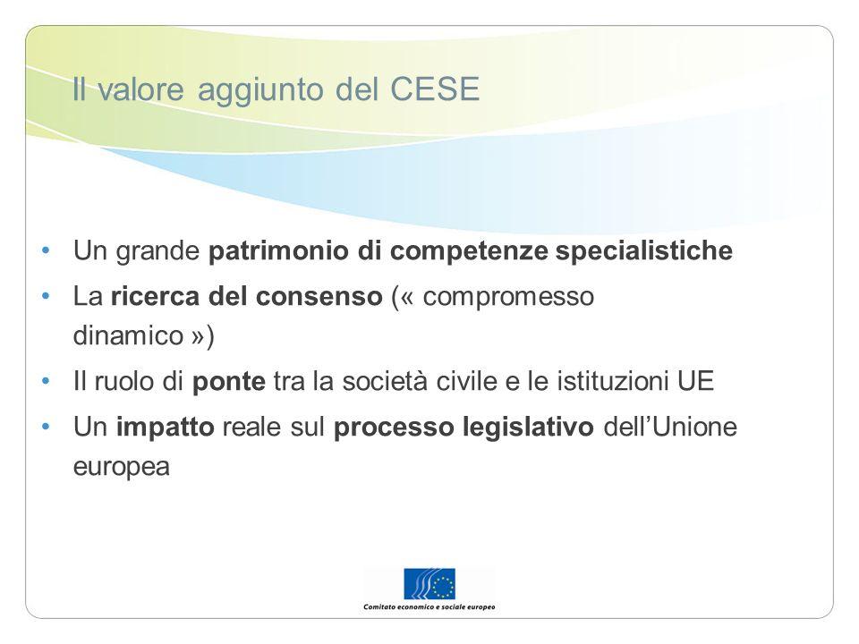Il valore aggiunto del CESE Un grande patrimonio di competenze specialistiche La ricerca del consenso (« compromesso dinamico ») Il ruolo di ponte tra