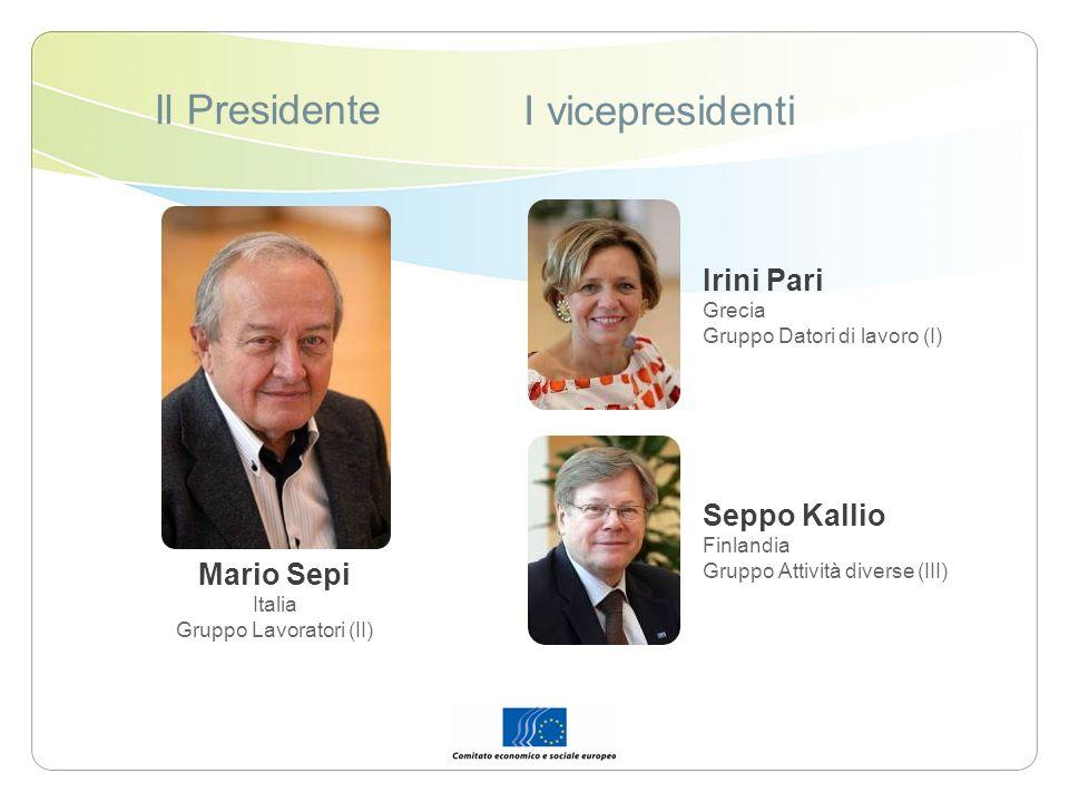 Il Presidente I vicepresidenti Mario Sepi Italia Gruppo Lavoratori (II) Irini Pari Grecia Gruppo Datori di lavoro (I) Seppo Kallio Finlandia Gruppo At