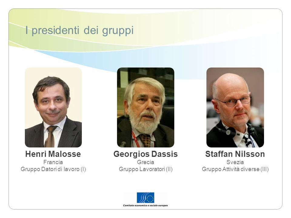 I presidenti dei gruppi Henri Malosse Francia Gruppo Datori di lavoro (I) Georgios Dassis Grecia Gruppo Lavoratori (II) Staffan Nilsson Svezia Gruppo