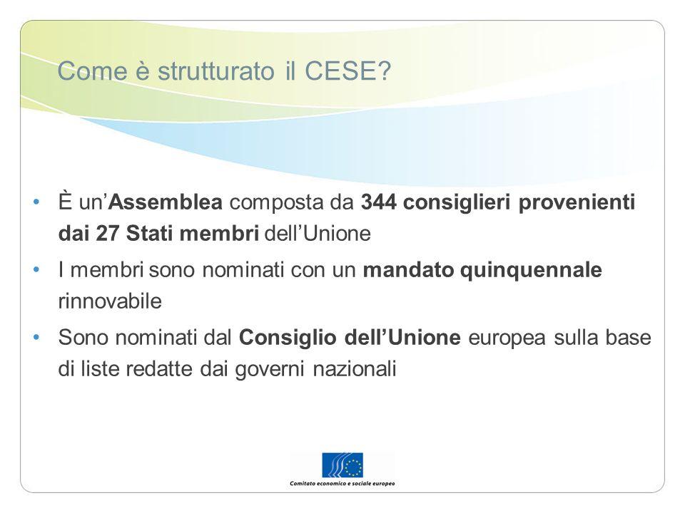 Come è strutturato il CESE? È unAssemblea composta da 344 consiglieri provenienti dai 27 Stati membri dellUnione I membri sono nominati con un mandato