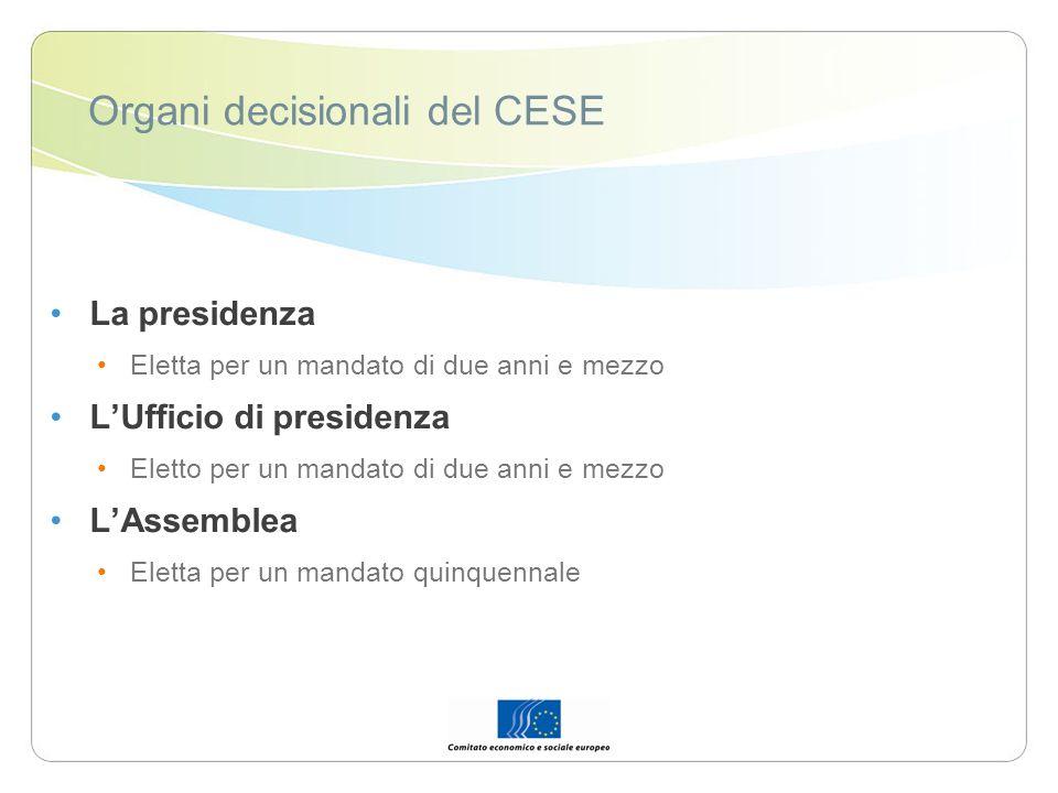 Organi decisionali del CESE La presidenza Eletta per un mandato di due anni e mezzo LUfficio di presidenza Eletto per un mandato di due anni e mezzo L