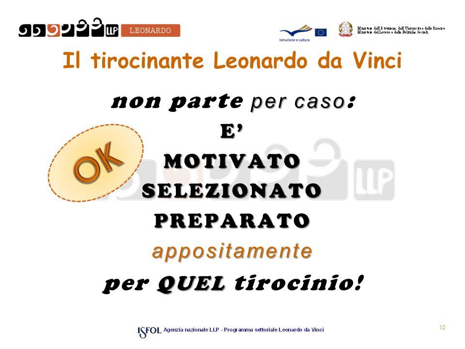 Il tirocinante Leonardo da Vinci per caso non parte per caso :EMOTIVATOSELEZIONATOPREPARATOappositamente QUEL per QUEL tirocinio.