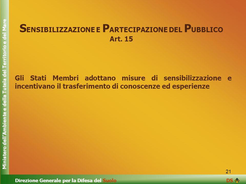 21 S ENSIBILIZZAZIONE E P ARTECIPAZIONE DEL P UBBLICO Art. 15 Gli Stati Membri adottano misure di sensibilizzazione e incentivano il trasferimento di