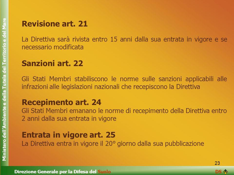 23 Revisione art. 21 La Direttiva sarà rivista entro 15 anni dalla sua entrata in vigore e se necessario modificata Sanzioni art. 22 Gli Stati Membri