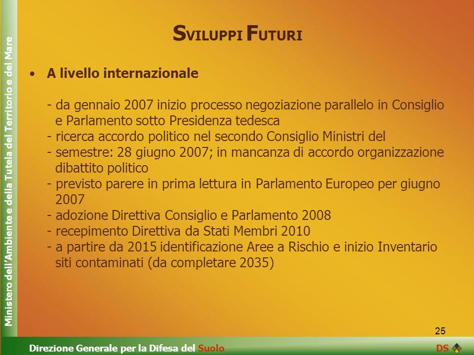 25 S VILUPPI F UTURI A livello internazionale - da gennaio 2007 inizio processo negoziazione parallelo in Consiglio e Parlamento sotto Presidenza tede