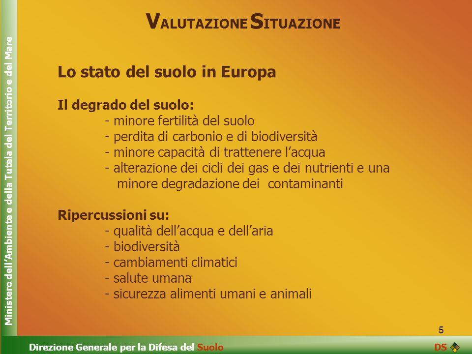 5 V ALUTAZIONE S ITUAZIONE Lo stato del suolo in Europa Il degrado del suolo: - minore fertilità del suolo - perdita di carbonio e di biodiversità - m