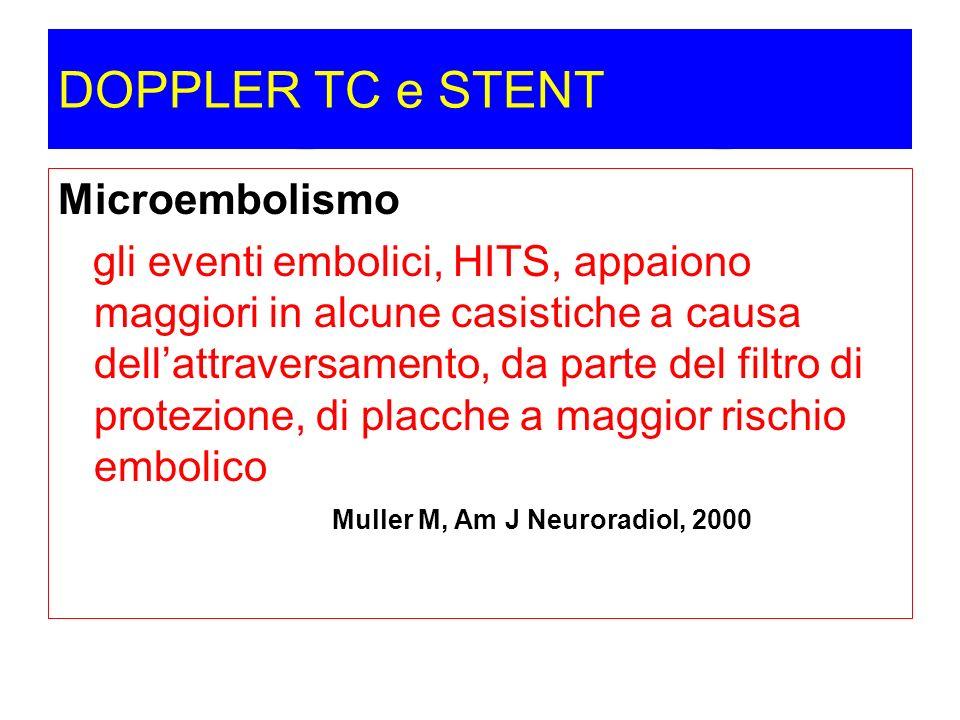 DOPPLER TC e STENT Microembolismo gli eventi embolici, HITS, appaiono maggiori in alcune casistiche a causa dellattraversamento, da parte del filtro d