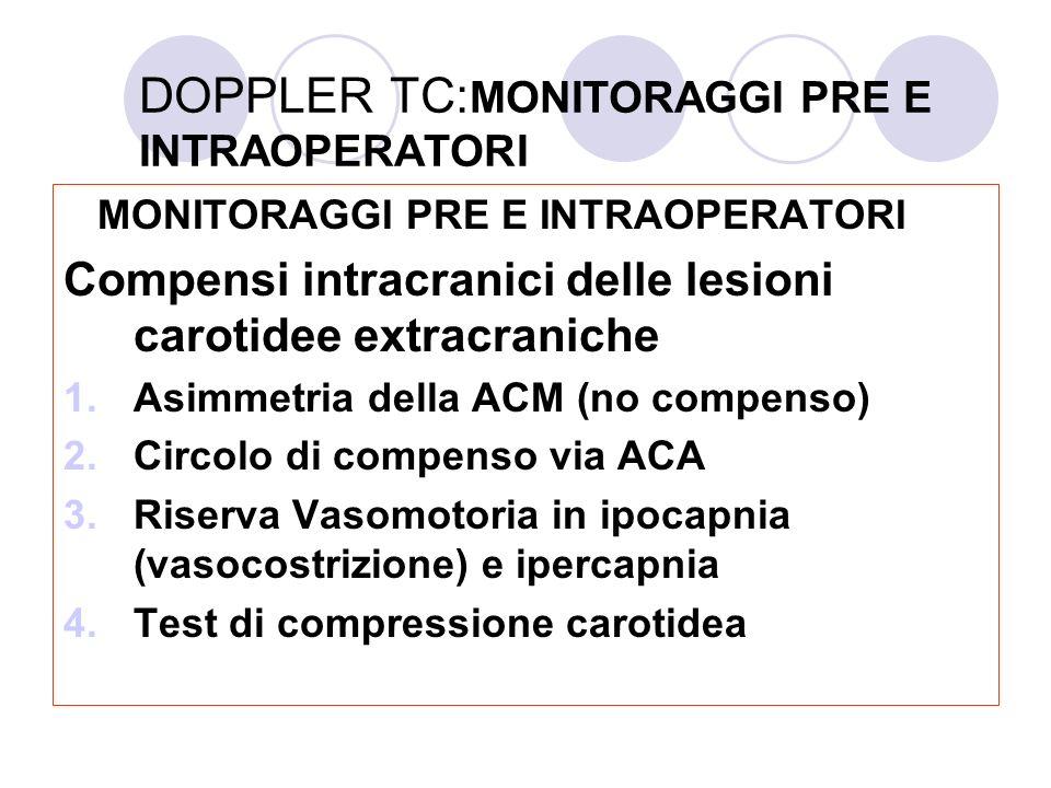 DOPPLER TC: MONITORAGGI PRE E INTRAOPERATORI MONITORAGGI PRE E INTRAOPERATORI Compensi intracranici delle lesioni carotidee extracraniche 1.Asimmetria