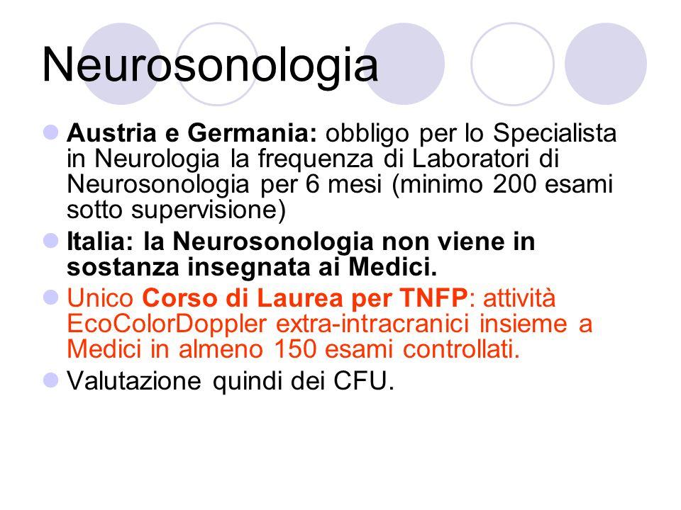 Neurosonologia Austria e Germania: obbligo per lo Specialista in Neurologia la frequenza di Laboratori di Neurosonologia per 6 mesi (minimo 200 esami