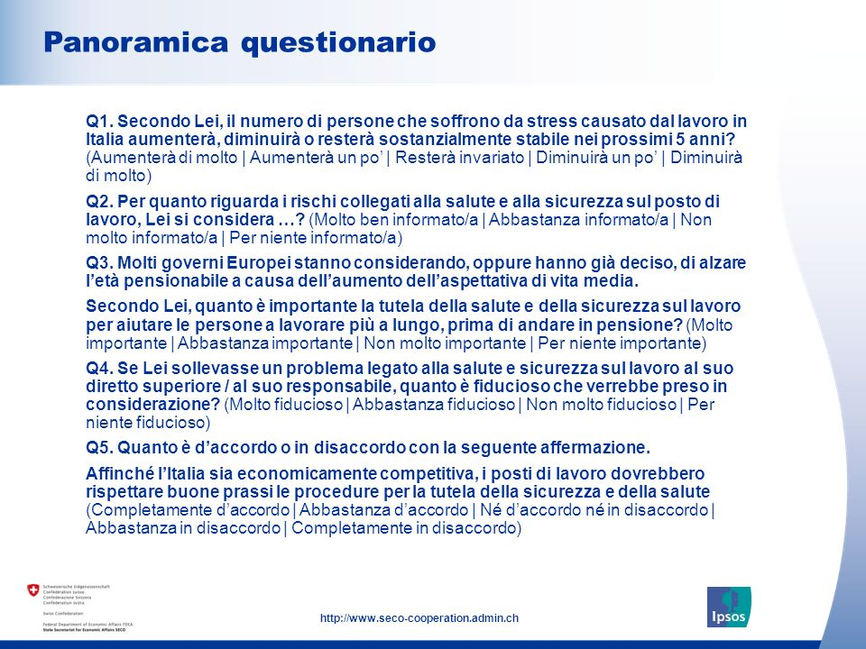 3 http://www.seco-cooperation.admin.ch Panoramica questionario Q1.