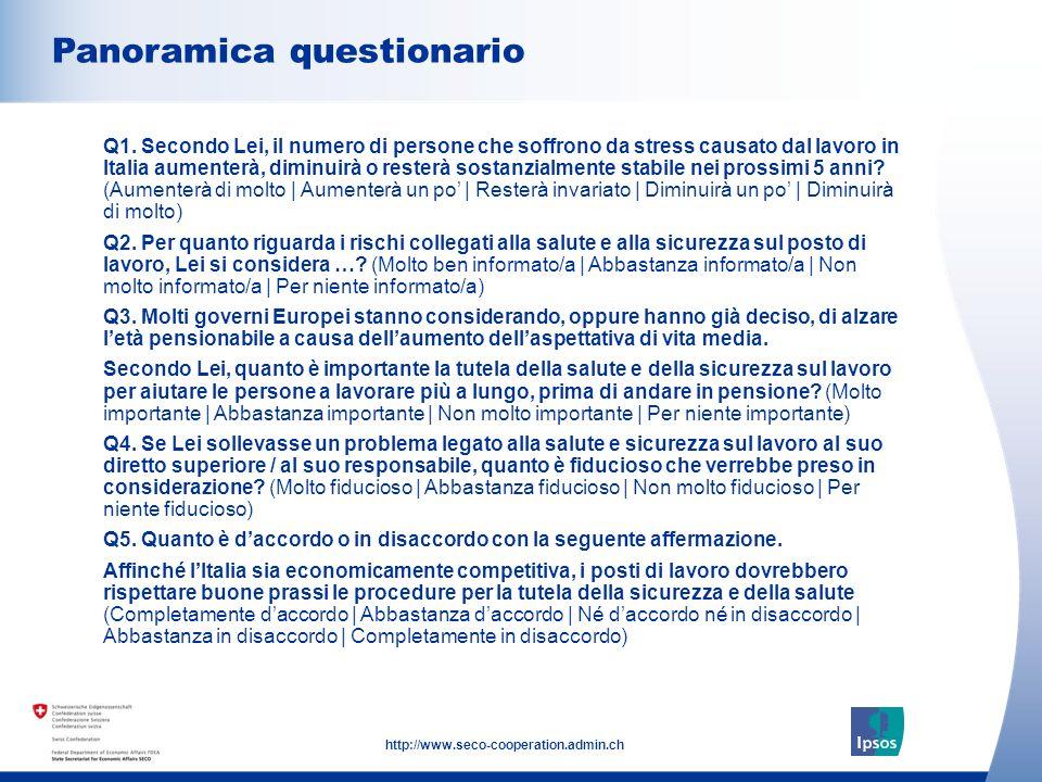 34 http://www.seco-cooperation.admin.ch L importanza della salute e della sicurezza sul posto di lavoro per essere competitivi dal punto di vista economico Quanto è daccordo o in disaccordo con la seguente affermazione.