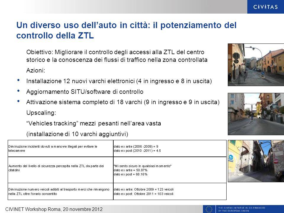 Un diverso uso dellauto in città: il potenziamento del controllo della ZTL Obiettivo: Migliorare il controllo degli accessi alla ZTL del centro storic