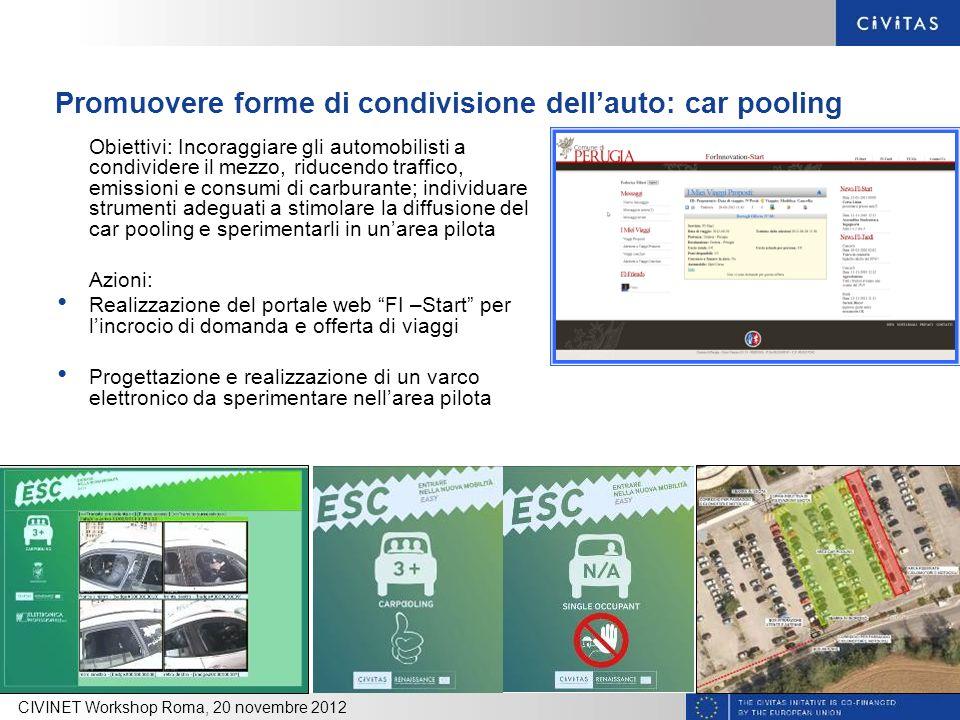 Promuovere forme di condivisione dellauto: car pooling Obiettivi: Incoraggiare gli automobilisti a condividere il mezzo, riducendo traffico, emissioni