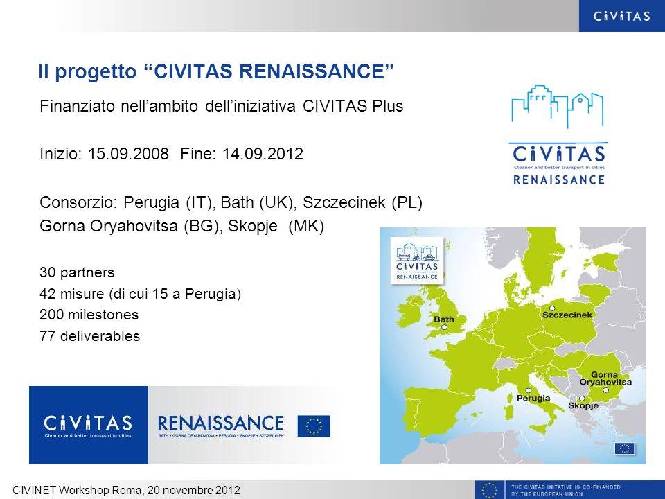 Il progetto CIVITAS RENAISSANCE Finanziato nellambito delliniziativa CIVITAS Plus Inizio: 15.09.2008 Fine: 14.09.2012 Consorzio: Perugia (IT), Bath (U
