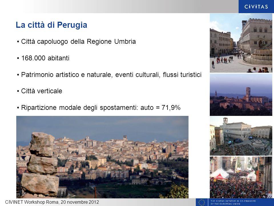 La città di Perugia CIVINET Workshop Roma, 20 novembre 2012 Città capoluogo della Regione Umbria 168.000 abitanti Patrimonio artistico e naturale, eve