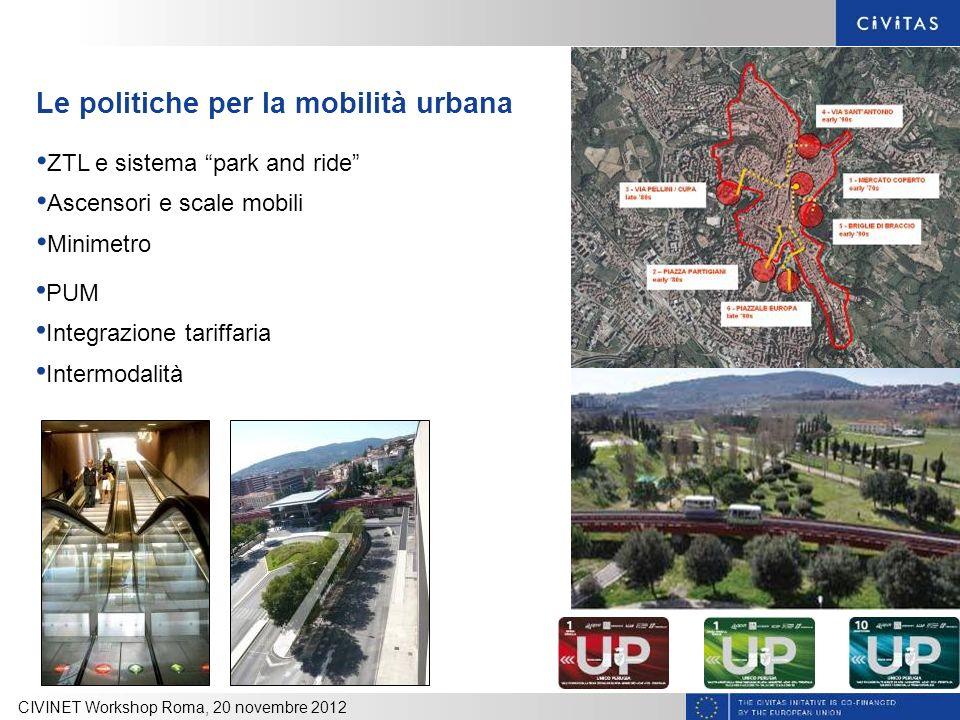 Le politiche per la mobilità urbana CIVINET Workshop Roma, 20 novembre 2012 ZTL e sistema park and ride Ascensori e scale mobili Minimetro PUM Integra