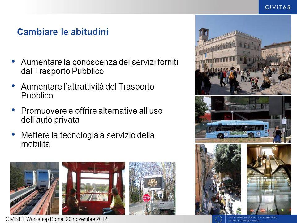 Cambiare le abitudini Aumentare la conoscenza dei servizi forniti dal Trasporto Pubblico Aumentare lattrattività del Trasporto Pubblico Promuovere e o