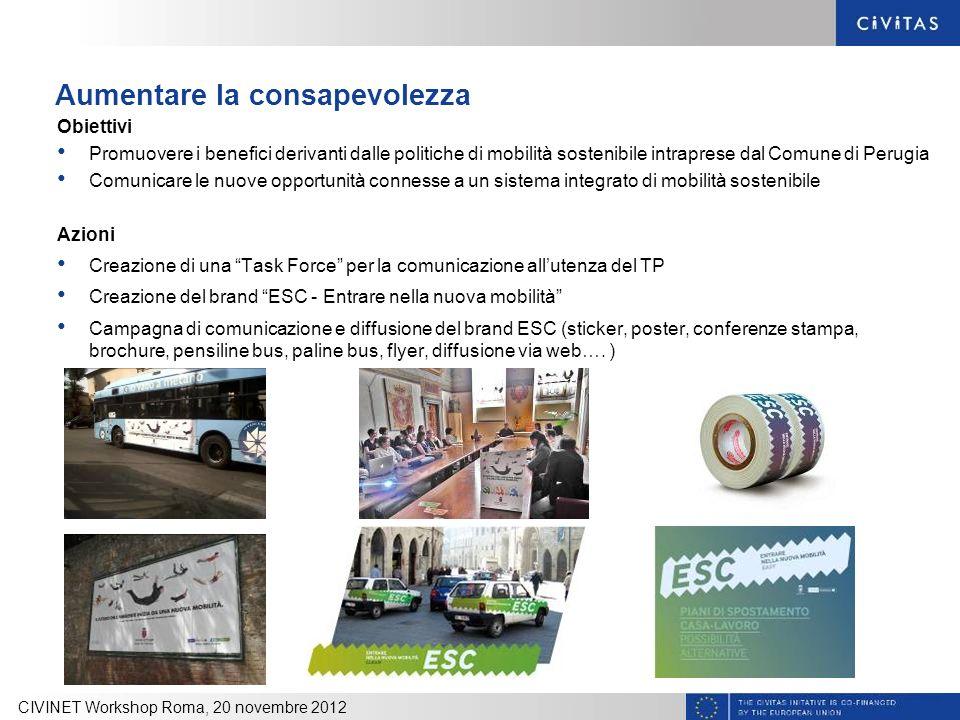 Aumentare la consapevolezza Obiettivi Promuovere i benefici derivanti dalle politiche di mobilità sostenibile intraprese dal Comune di Perugia Comunic
