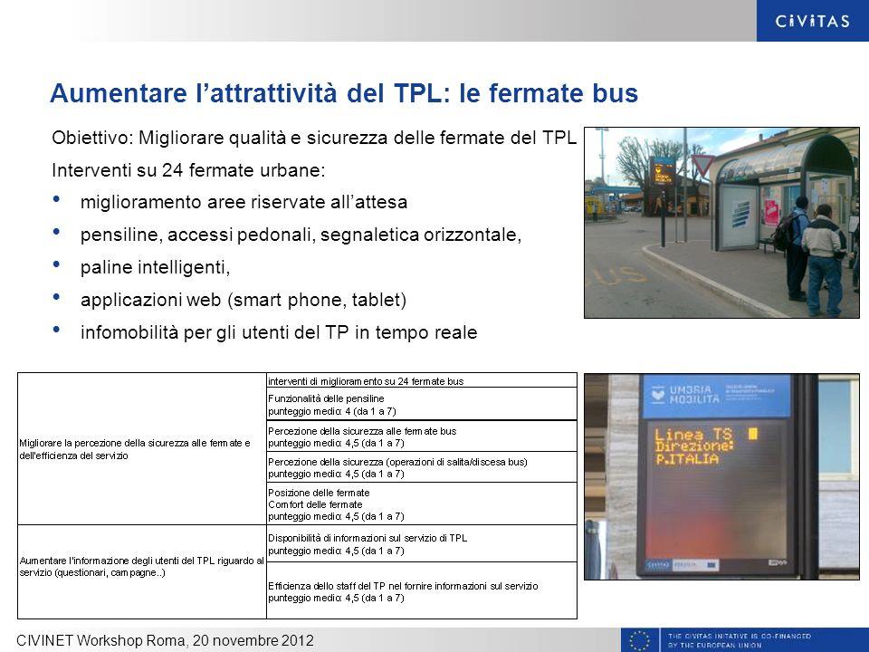 Aumentare lattrattività del TPL: le fermate bus Obiettivo: Migliorare qualità e sicurezza delle fermate del TPL Interventi su 24 fermate urbane: migli
