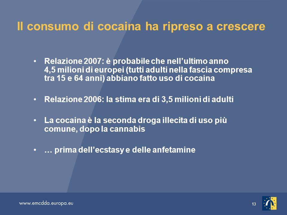 13 Il consumo di cocaina ha ripreso a crescere Relazione 2007: è probabile che nellultimo anno 4,5 milioni di europei (tutti adulti nella fascia compresa tra 15 e 64 anni) abbiano fatto uso di cocaina Relazione 2006: la stima era di 3,5 milioni di adulti La cocaina è la seconda droga illecita di uso più comune, dopo la cannabis … prima dellecstasy e delle anfetamine