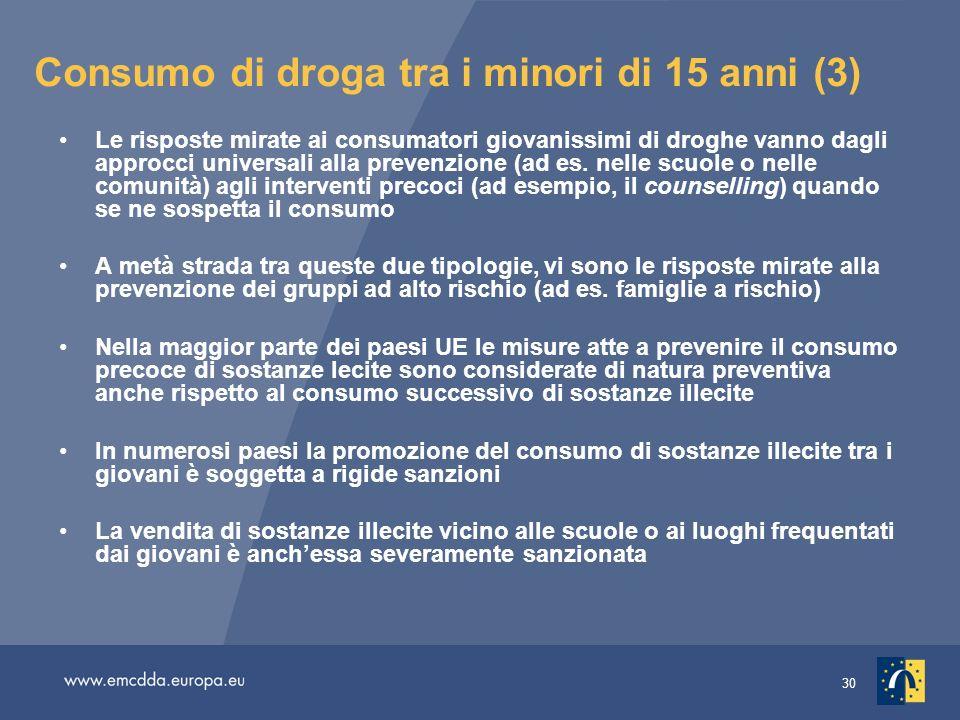 30 Consumo di droga tra i minori di 15 anni (3) Le risposte mirate ai consumatori giovanissimi di droghe vanno dagli approcci universali alla prevenzione (ad es.
