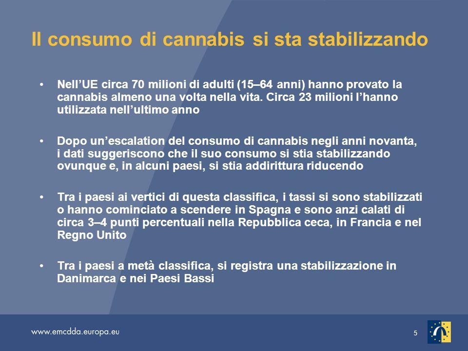 5 Il consumo di cannabis si sta stabilizzando NellUE circa 70 milioni di adulti (15–64 anni) hanno provato la cannabis almeno una volta nella vita.