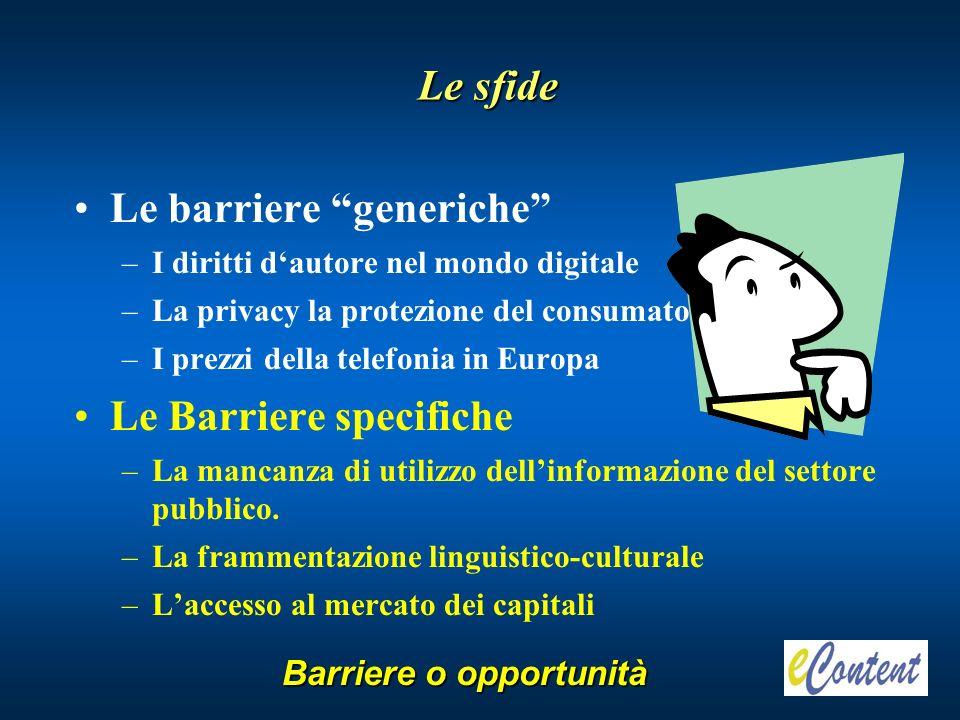 Le barriere generiche –I diritti dautore nel mondo digitale –La privacy la protezione del consumatore –I prezzi della telefonia in Europa Le Barriere specifiche –La mancanza di utilizzo dellinformazione del settore pubblico.