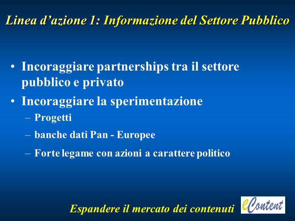 Linea dazione 1: Informazione del Settore Pubblico Espandere il mercato dei contenuti Incoraggiare partnerships tra il settore pubblico e privato Incoraggiare la sperimentazione –Progetti –banche dati Pan - Europee –Forte legame con azioni a carattere politico