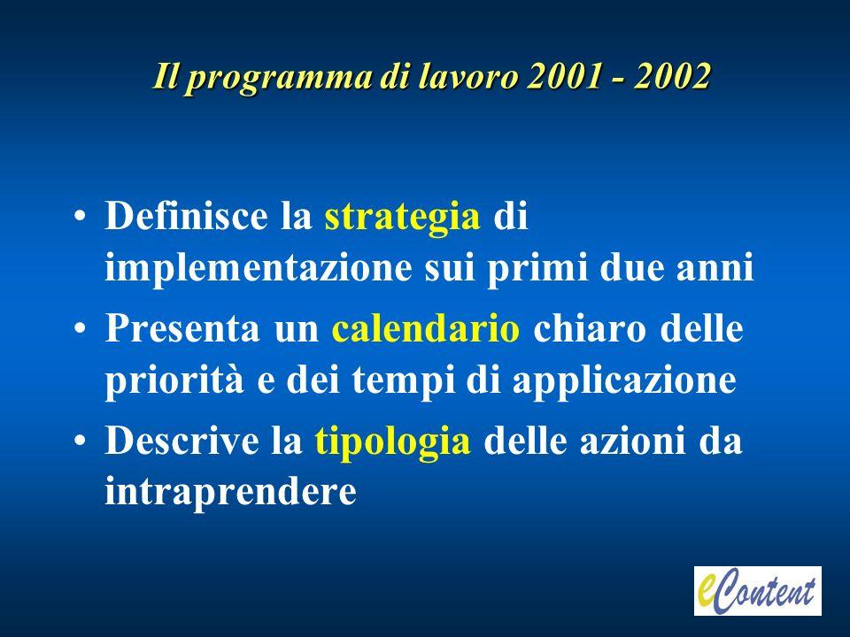 Il programma di lavoro 2001 - 2002 Definisce la strategia di implementazione sui primi due anni Presenta un calendario chiaro delle priorità e dei tempi di applicazione Descrive la tipologia delle azioni da intraprendere