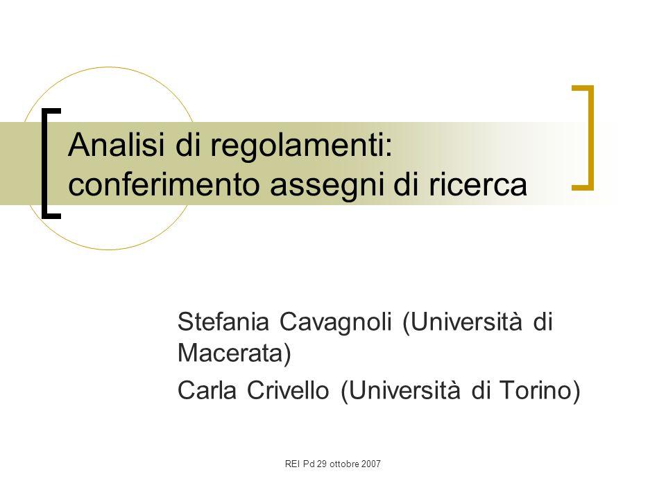 REI Pd 29 ottobre 2007 Analisi di regolamenti: conferimento assegni di ricerca Stefania Cavagnoli (Università di Macerata) Carla Crivello (Università di Torino)