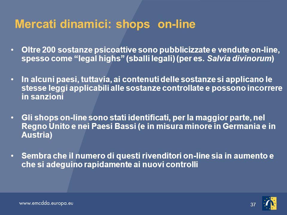 37 Mercati dinamici: shops on-line Oltre 200 sostanze psicoattive sono pubblicizzate e vendute on-line, spesso come legal highs (sballi legali) (per es.