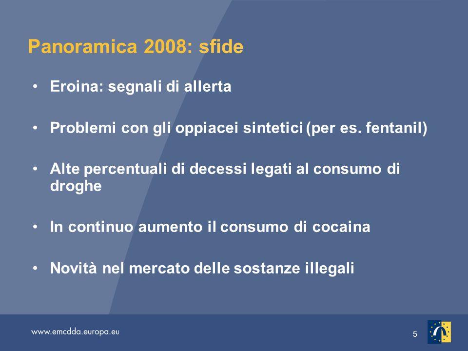 5 Panoramica 2008: sfide Eroina: segnali di allerta Problemi con gli oppiacei sintetici (per es.