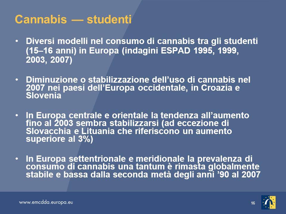 16 Cannabis studenti Diversi modelli nel consumo di cannabis tra gli studenti (15–16 anni) in Europa (indagini ESPAD 1995, 1999, 2003, 2007) Diminuzio