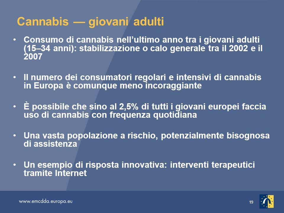 19 Cannabis giovani adulti Consumo di cannabis nellultimo anno tra i giovani adulti (15–34 anni): stabilizzazione o calo generale tra il 2002 e il 200