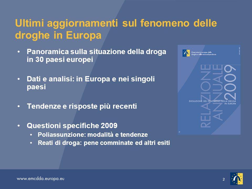 2 Ultimi aggiornamenti sul fenomeno delle droghe in Europa Panoramica sulla situazione della droga in 30 paesi europei Dati e analisi: in Europa e nei