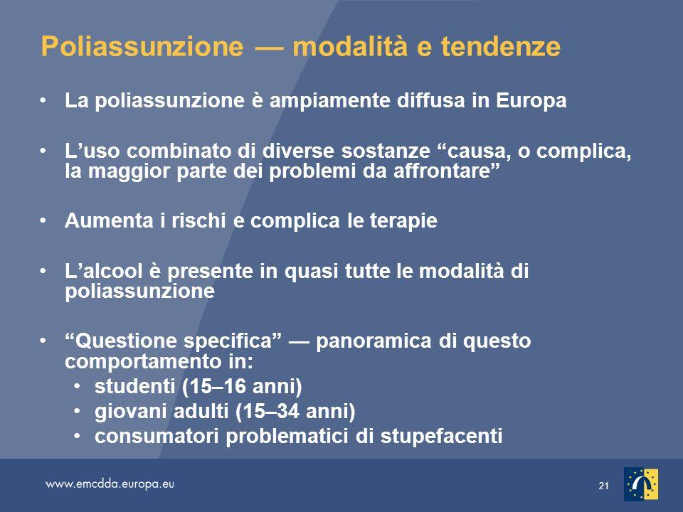 21 Poliassunzione modalità e tendenze La poliassunzione è ampiamente diffusa in Europa Luso combinato di diverse sostanze causa, o complica, la maggio