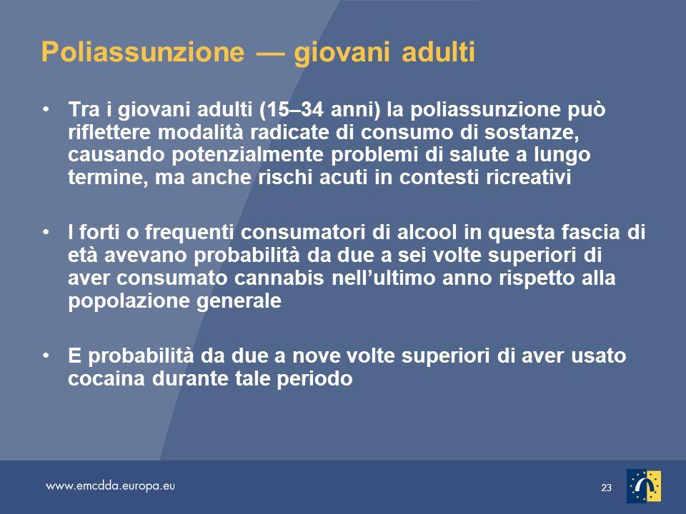 23 Poliassunzione giovani adulti Tra i giovani adulti (15–34 anni) la poliassunzione può riflettere modalità radicate di consumo di sostanze, causando