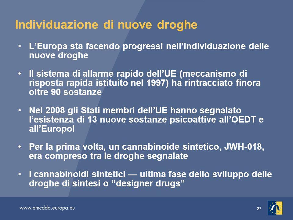 27 Individuazione di nuove droghe LEuropa sta facendo progressi nellindividuazione delle nuove droghe Il sistema di allarme rapido dellUE (meccanismo