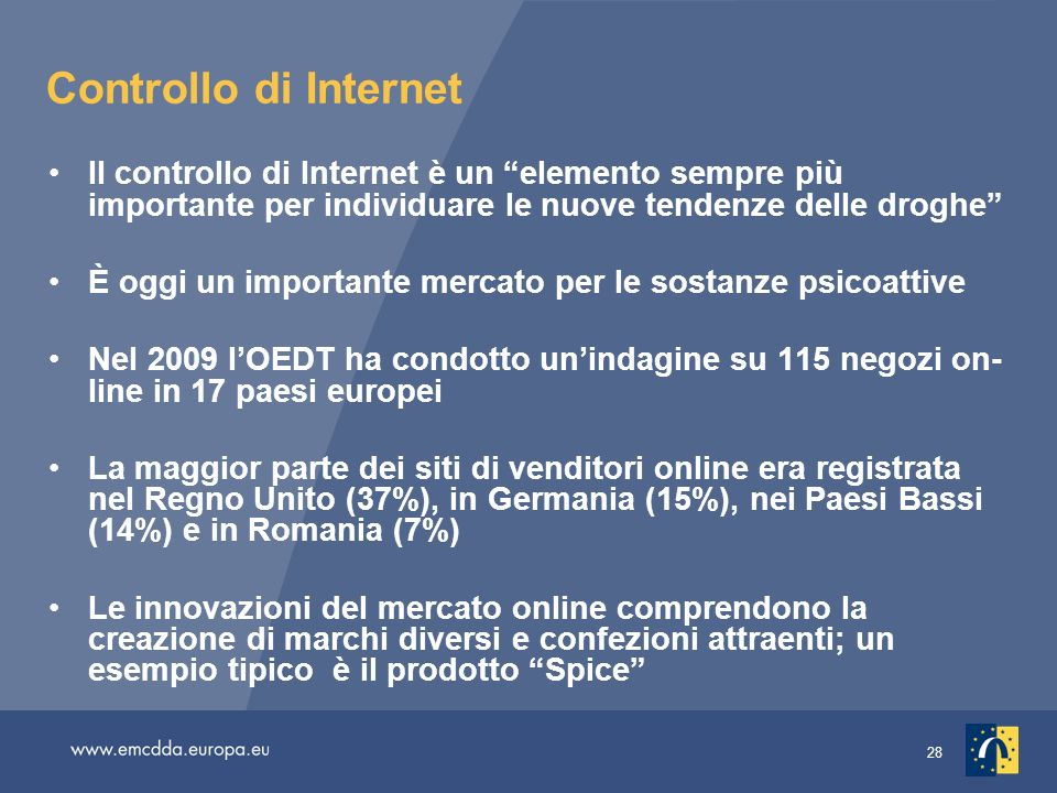 28 Controllo di Internet Il controllo di Internet è un elemento sempre più importante per individuare le nuove tendenze delle droghe È oggi un importa