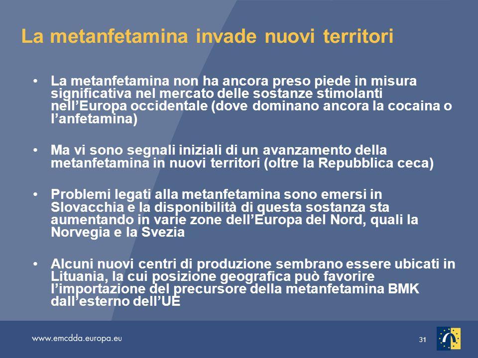31 La metanfetamina invade nuovi territori La metanfetamina non ha ancora preso piede in misura significativa nel mercato delle sostanze stimolanti ne