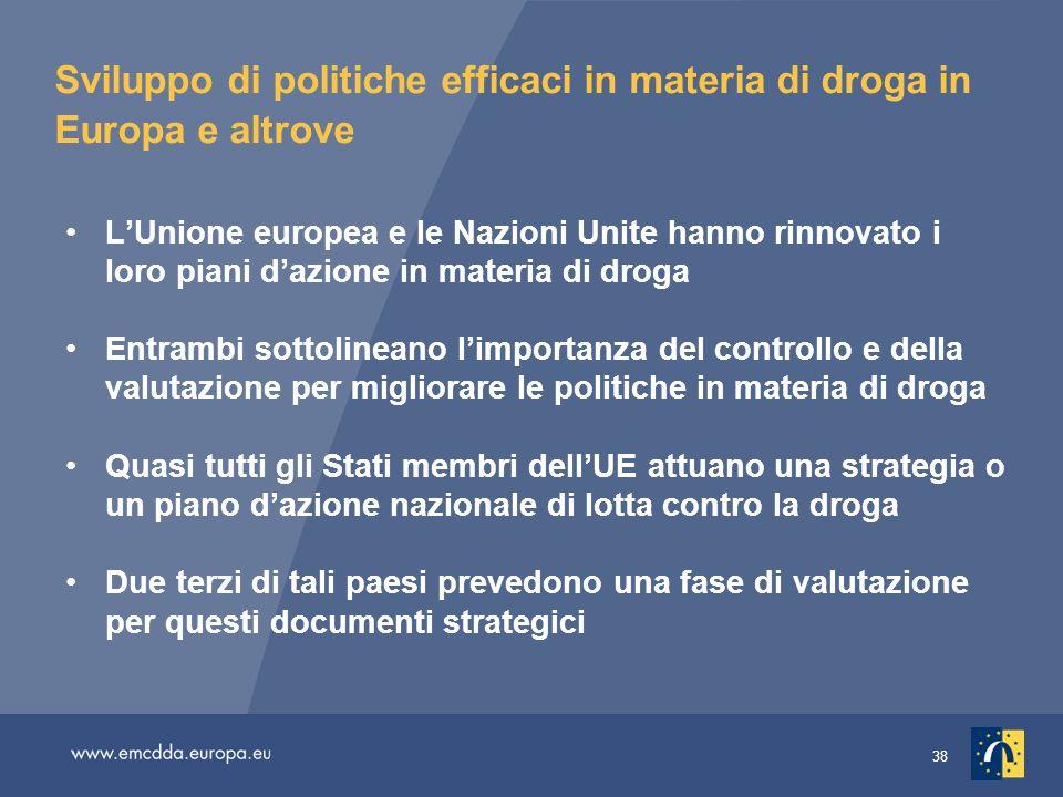 38 Sviluppo di politiche efficaci in materia di droga in Europa e altrove LUnione europea e le Nazioni Unite hanno rinnovato i loro piani dazione in m