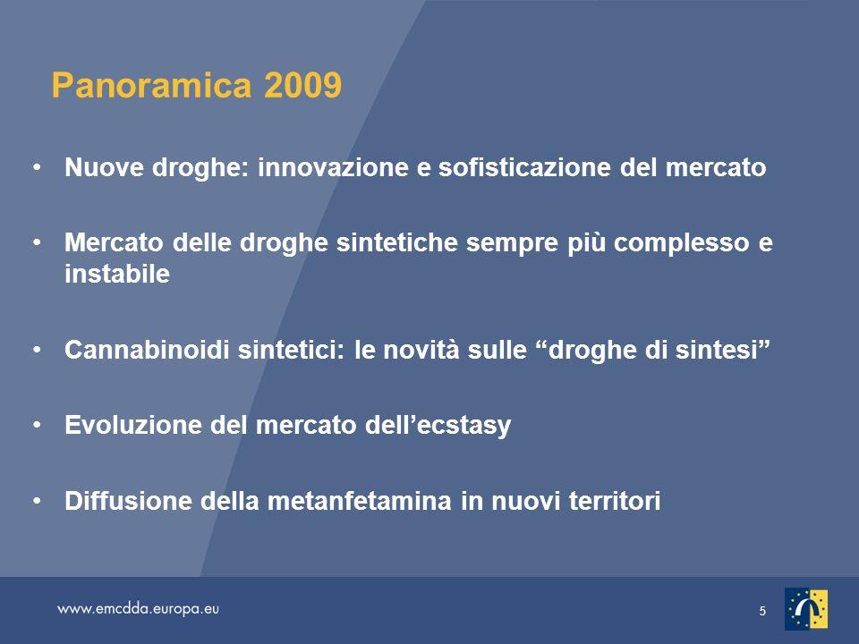 5 Panoramica 2009 Nuove droghe: innovazione e sofisticazione del mercato Mercato delle droghe sintetiche sempre più complesso e instabile Cannabinoidi