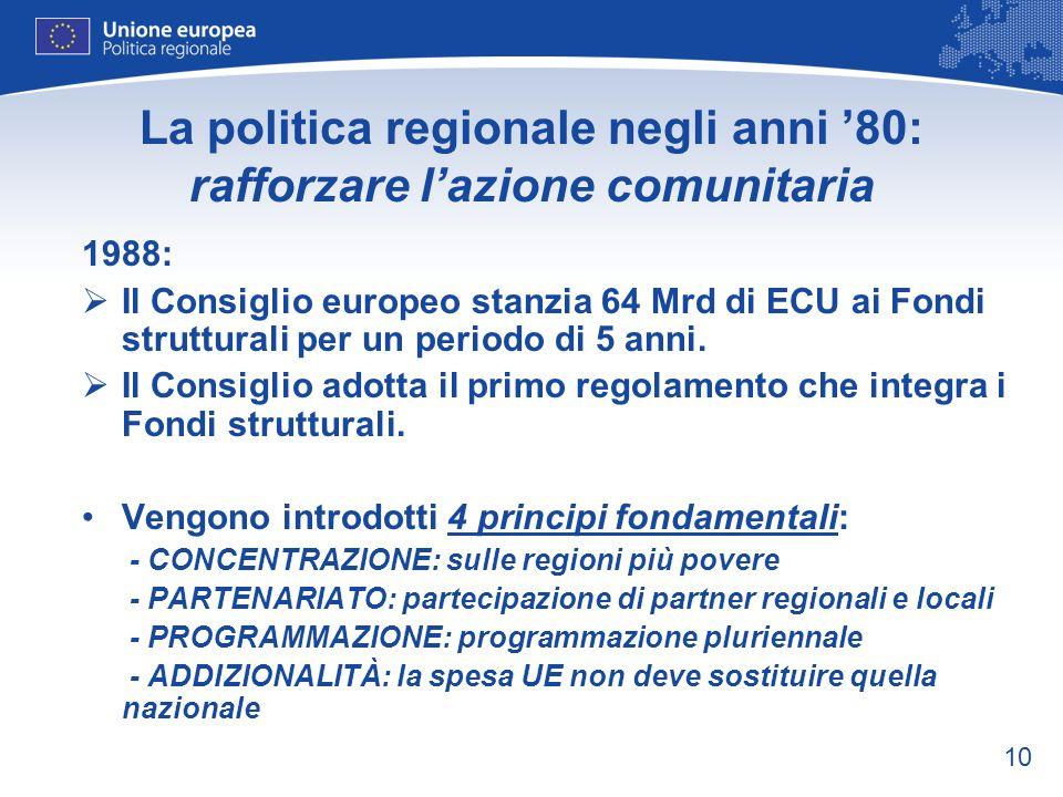 10 La politica regionale negli anni 80: rafforzare lazione comunitaria 1988: Il Consiglio europeo stanzia 64 Mrd di ECU ai Fondi strutturali per un pe