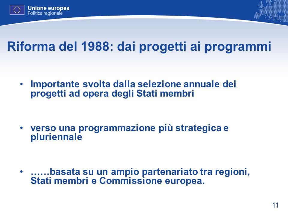 11 Riforma del 1988: dai progetti ai programmi Importante svolta dalla selezione annuale dei progetti ad opera degli Stati membri verso una programmaz
