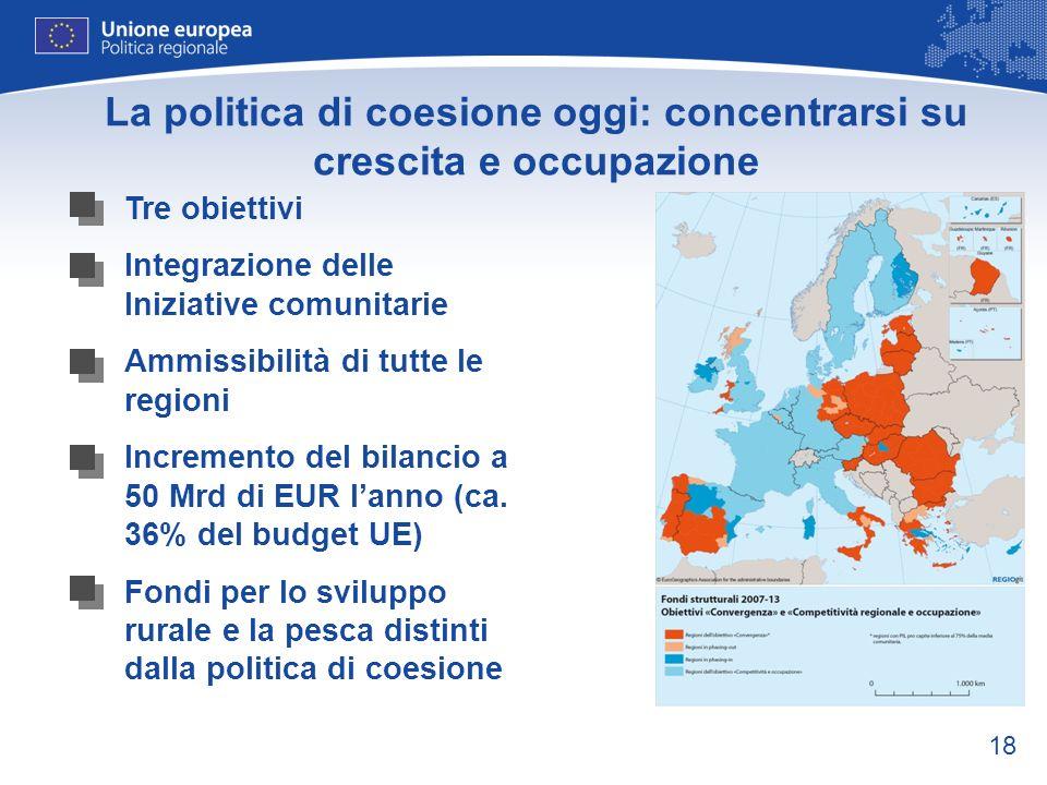18 La politica di coesione oggi: concentrarsi su crescita e occupazione Tre obiettivi Integrazione delle Iniziative comunitarie Ammissibilità di tutte